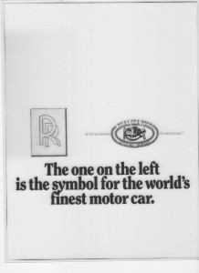 Remember, this was a layout done before art director's had access to, and unfettered use of, the internet and online stock photo imagery. That Rolls Royce logo would have looked a lot better in a layout done today, I can assure you.